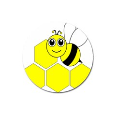 Bee Wasp Yellow Magnet 3  (round)