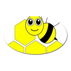 Bee Wasp Yellow Oval Magnet