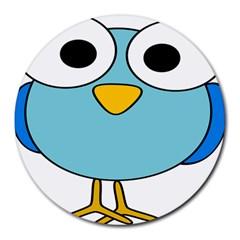 Bird Big Eyes Blue Round Mousepads