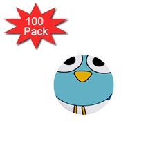 Bird Big Eyes Blue 1  Mini Buttons (100 Pack)