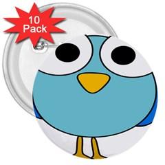 Bird Big Eyes Blue 3  Buttons (10 Pack)