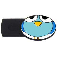 Bird Big Eyes Blue USB Flash Drive Oval (1 GB)