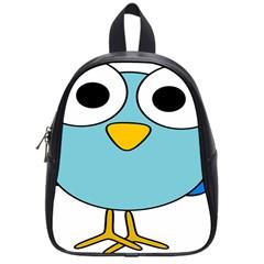 Bird Big Eyes Blue School Bags (small)