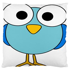 Bird Big Eyes Blue Standard Flano Cushion Case (One Side)