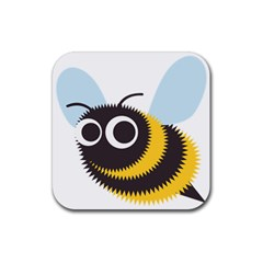 Bee Wasp Face Sinister Eye Fly Rubber Square Coaster (4 Pack)