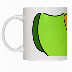 Bird Big Eyes Green White Mugs