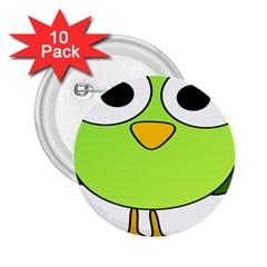 Bird Big Eyes Green 2 25  Buttons (10 Pack)