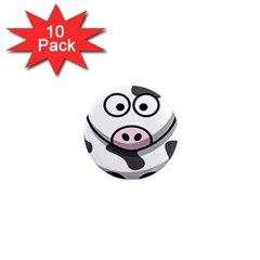 Animals Cow  Face Cute 1  Mini Magnet (10 Pack)