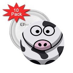 Animals Cow  Face Cute 2 25  Buttons (10 Pack)