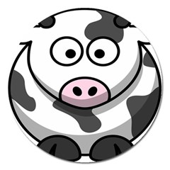 Animals Cow  Face Cute Magnet 5  (round)