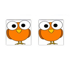 Bird Big Eyes Orange Cufflinks (square)