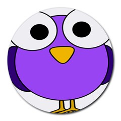 Bird Big Eyes Purple Round Mousepads