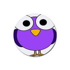 Bird Big Eyes Purple Rubber Round Coaster (4 Pack)