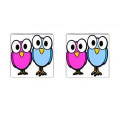 Bird Big Eyes Pink Blue Cufflinks (square)