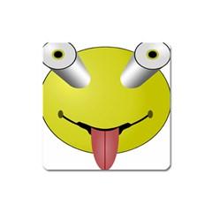 Bug Eye Tounge Square Magnet