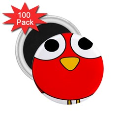 Bird Big Eyes Red 2 25  Magnets (100 Pack)