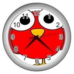 Bird Big Eyes Red Wall Clocks (silver)