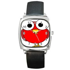 Bird Big Eyes Red Square Metal Watch