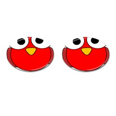 Bird Big Eyes Red Cufflinks (oval)