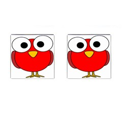 Bird Big Eyes Red Cufflinks (square)