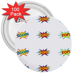 Boom Pow Pop Sign 3  Buttons (100 Pack)