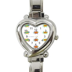 Boom Pow Pop Sign Heart Italian Charm Watch