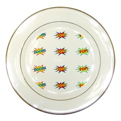 Boom Pow Pop Sign Porcelain Plates