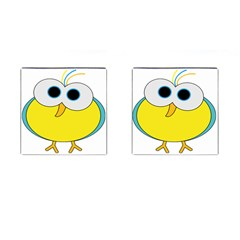 Bird Big Eyes Yellow Cufflinks (square)