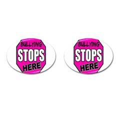 Bullying Stops Here Pink Sign Cufflinks (oval)