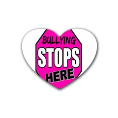 Bullying Stops Here Pink Sign Heart Coaster (4 Pack)