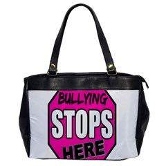 Bullying Stops Here Pink Sign Office Handbags