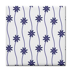Geometric Flower Seamless Repeating Pattern With Curvy Lines Tile Coasters
