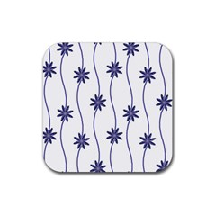 Geometric Flower Seamless Repeating Pattern With Curvy Lines Rubber Square Coaster (4 pack)