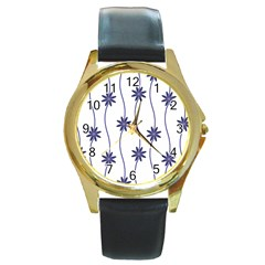 Geometric Flower Seamless Repeating Pattern With Curvy Lines Round Gold Metal Watch
