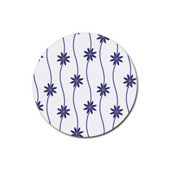 Geometric Flower Seamless Repeating Pattern With Curvy Lines Rubber Coaster (round)