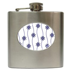 Geometric Flower Seamless Repeating Pattern With Curvy Lines Hip Flask (6 Oz)