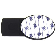 Geometric Flower Seamless Repeating Pattern With Curvy Lines USB Flash Drive Oval (1 GB)