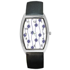 Geometric Flower Seamless Repeating Pattern With Curvy Lines Barrel Style Metal Watch