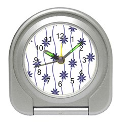 Geometric Flower Seamless Repeating Pattern With Curvy Lines Travel Alarm Clocks