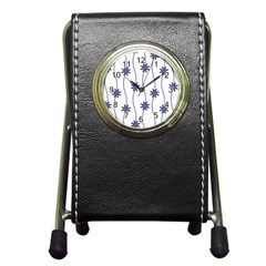 Geometric Flower Seamless Repeating Pattern With Curvy Lines Pen Holder Desk Clocks