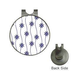 Geometric Flower Seamless Repeating Pattern With Curvy Lines Hat Clips with Golf Markers