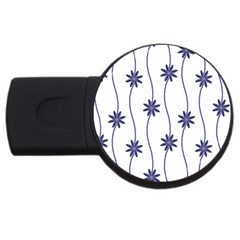 Geometric Flower Seamless Repeating Pattern With Curvy Lines USB Flash Drive Round (4 GB)
