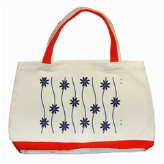 Geometric Flower Seamless Repeating Pattern With Curvy Lines Classic Tote Bag (red)
