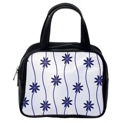 Geometric Flower Seamless Repeating Pattern With Curvy Lines Classic Handbags (one Side)