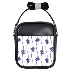 Geometric Flower Seamless Repeating Pattern With Curvy Lines Girls Sling Bags
