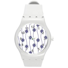 Geometric Flower Seamless Repeating Pattern With Curvy Lines Round Plastic Sport Watch (M)