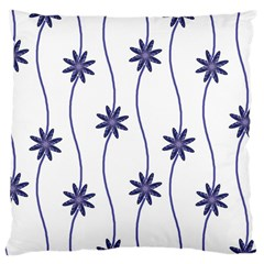 Geometric Flower Seamless Repeating Pattern With Curvy Lines Large Cushion Case (One Side)