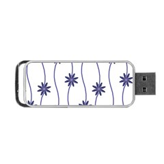 Geometric Flower Seamless Repeating Pattern With Curvy Lines Portable USB Flash (Two Sides)
