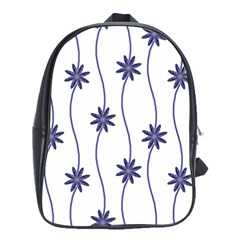 Geometric Flower Seamless Repeating Pattern With Curvy Lines School Bags (XL)