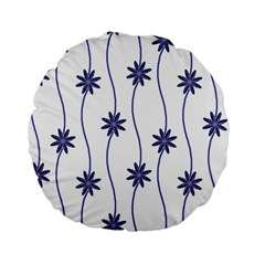 Geometric Flower Seamless Repeating Pattern With Curvy Lines Standard 15  Premium Flano Round Cushions